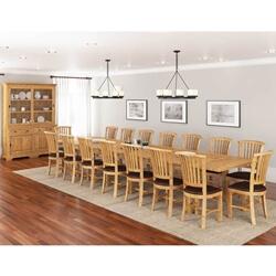 Brussels Rustic Reclaimed Teak Wood 18 Piece Dining Room Set
