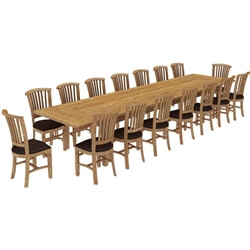 Brussels Reclaimed Teak Wood 17 Piece Large Extendable Dining Table Set