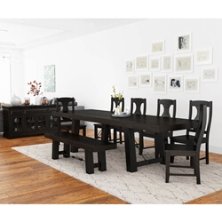 Tirana Rustic Solid Wood 9 Piece Large Extensions Dining Room Set