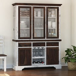 Illinois Modern Two Tone Solid Wood Glass Door Large Kitchen Hutch