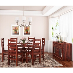 Minsk Rustic Traditional Rosewood 8 Piece Dining Room Set