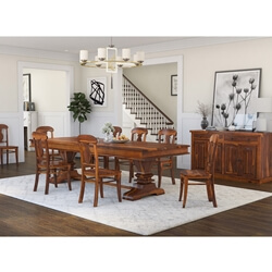 Tiraspol Rustic Solid Wood 10 Piece Dining Room Set