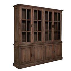 Leesburg Classic Teak Wood Glass Door Dining Room Hutch