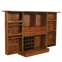 """Valdosta Solid Teak Wood Handcrafted Expandable 49"""" Tall Wine Bar Cabinet"""