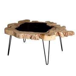 Glendale Unique Suar Wood Glass Top Live Edge Coffee Table