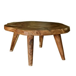 Escambia Solid Wood Live Edge Round Coffee Table