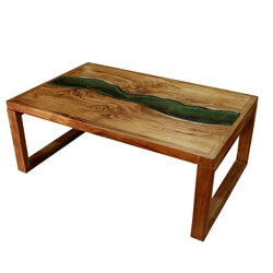 Milwaukee Solid Wood River Glass Top Rustic Coffee Table
