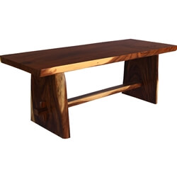 Marietta Handcrafted Suar Wood Single Slab Live Edge Dining Table