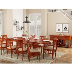 Chantilly Chic Rosewood 12 Piece Dining Room Set