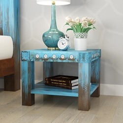 Empire Blue Dawn Rustic Solid Mango Wood Nightstand