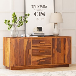 Brocton Rustic Solid Wood 2 Cabinet 3 Drawer Large Sideboard