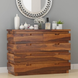 Modern Simplicity Solid Wood 5 Drawer Dresser