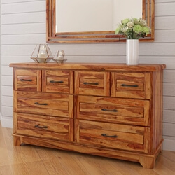 Colonial Rail Top Solid Wood Bedroom Dresser With 8 Drawers
