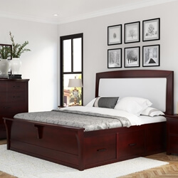 Vindemia Contemporary Style Solid Mahogany Wood Storage Platform Bed