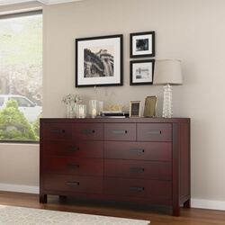 Anniston Contemporary Mahogany Wood Long Bedroom Dresser w 10 Drawers