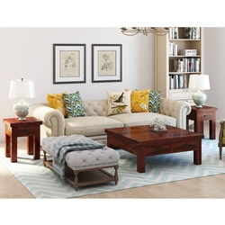 Modern 3 Piece Solid Wood Coffee Table Set With Storage