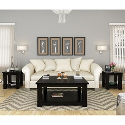 Brimson Black Solid Wood 3 Piece Coffee Table Set