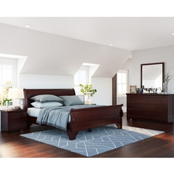 Carina Contemporary Mahogany Wood 4 Piece Bedroom Set