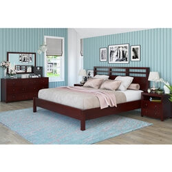 Andalusia Contemporary Mahogany Wood 4 Piece Bedroom Set