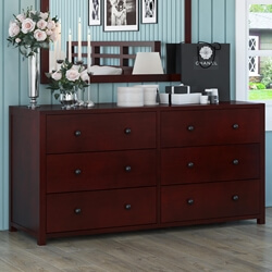 Andalusia Contemporary Mahogany Wood Large Bedroom Dresser w 6 Drawers