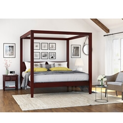 Henderson Transitional Mahogany Wood 3 Piece Bedroom Set