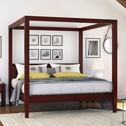 Henderson Transitional Solid Mahogany Wood Platform Canopy Bed