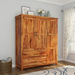 Sheffield Rustic Solid Wood 3 Door Large Bedroom Wardrobe Armoire