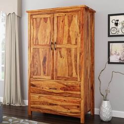 Healdsburg Rustic Solid Wood Large Wardrobe Armoire With Drawers