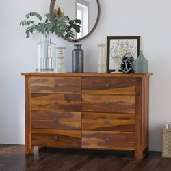 Osteen Contemporary Rustic Solid Wood Bedroom Dresser With 8 Drawers