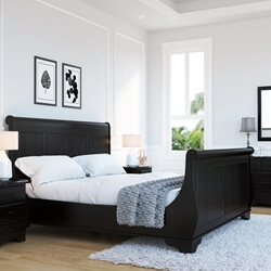 Majorca Contemporary Solid Wood Platform Sleigh Bed