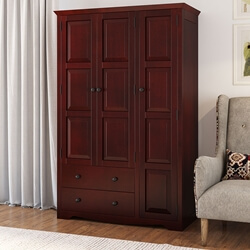 Dakota Rustic Solid Mahogany Wood 3 Door Large Wardrobe Armoire