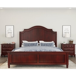 Iowa Traditional Style Mahogany Wood Platform Bed