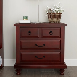 Iowa Traditional Style Mahogany Wood 3 Drawer Nightstand