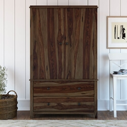 Bozeman Rustic Solid Wood Wardrobe Large Armoire With Drawers