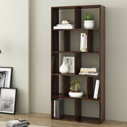 Acampo Rustic Solid Wood 12 Open Shelf Geometric Bookcase