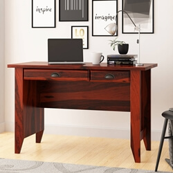 Brenda Rustic Solid Wood 2 Drawer Writing Desk