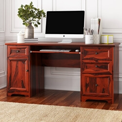 "Poston Rustic Solid Wood 4 Drawer 62"" Large Home Office Computer Desk"