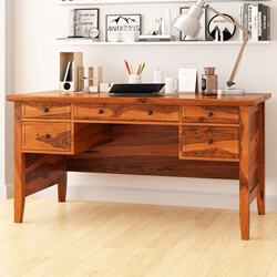 "Calypso Rustic Solid Wood 60"" Large Writing Desk With 5 Drawers"