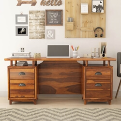 "Hondah Rustic Solid Rosewood 4 Drawer 70"" Large Home Office Executive Desk"