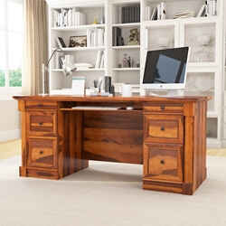 "Ansonville Solid Wood Dual Sided Storage 67"" Large Home Office Executive Desk"