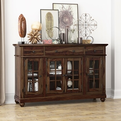 Artois Rustic Solid Wood Glass Door 3 Drawer Large Sideboard