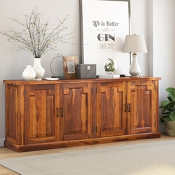 Benbow Rustic Solid Wood 4 Door Extra Long Sideboard Cabinet