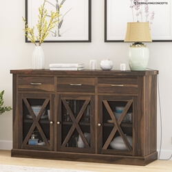 Chester Solid Wood Grid Door 3 Drawer Rustic Sideboard