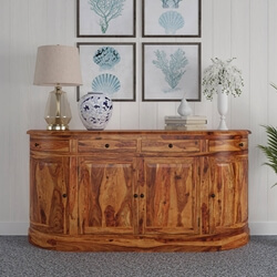 Welaka Rustic Solid Wood Handcrafted 4 Drawer Large Curved Sideboard
