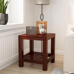 Portland Contemporary Solid Wood 2 Tier Rustic End Table