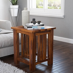 Jeddito Mission Rustic Solid Wood 2 Tier End Table
