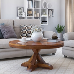 Floreo Rustic Cross Legged Solid Wood Round Coffee Table