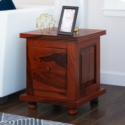 Arca Rustic Solid Wood 1 Drawer Storage End Table