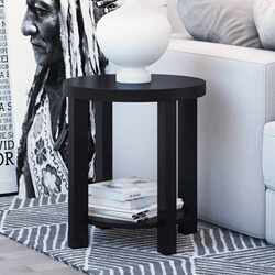 Zayante Rustic Solid Wood 2 Tier Round End Table