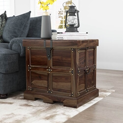 Beaufort Steamer Rustic Solid Wood Storage Trunk Style End Table